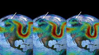 Narrow cold air pockets sinking from the Arctic sometimes pinch off warmer air flowing along the jet stream as seen in this sequence.