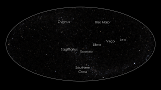 Animation, zooming out from Scorpio to a full sky view of the stars. It blends over to a color-coded full sky neutral atom map, as obtained with IBEX at energies where the interstellar wind is the brightest feature in the maps. In Earth's orbit, where IBEX makes its observations, the maximum flow (in red) is seen to arrive from Libra instead of Scorpio because the interstellar wind is forced to curve around the Sun by gravity. Credit: NASA/GSFC/UNH