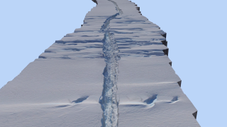 The 3D flythough of the rift in the Pine Island Glacier on Oct. 26, 2011, created entirely through photogrammetric processing.of Digital Mapping System imagery taken from NASA's DC-8 aircraft during an Operation IceBridge field campaign.