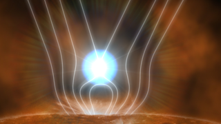 Solar flares produce gamma rays by several processes, one of which is illustrated here. The energy released in a solar flare rapidly accelerates charged particles. When a high-energy proton strikes matter in the sun's atmosphere and visible surface, the result may be a short-lived particle -- a pion -- that emits gamma rays when it decays.