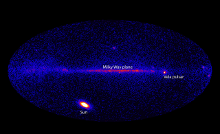 This image from Fermi's Large Area Telescope (LAT) shows how the entire sky looked on March 7 in the light of gamma rays with energies beyond 100 MeV. Although the Vela pulsar is the brightest continuous LAT source, it was outmatched this day by the X5.4 solar flare, which brightened the sun by 1,000 times. Credit: NASA/DOE/Fermi LAT Collaboration