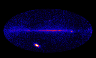 This image from Fermi's Large Area Telescope (LAT) shows how the entire sky looked on March 7 in the light of gamma rays with energies beyond 100 MeV. Although the Vela pulsar is the brightest continuous LAT source, it was outmatched this day by the X5.4 solar flare, which brightened the sun by 1,000 times. No Labels. Credit: NASA/DOE/Fermi LAT Collaboration