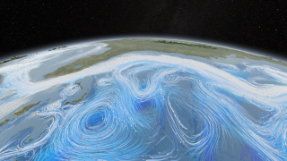 Ocean currents of the Gulf Stream.