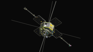 The RBSP spacecraft: Instruments investigating particles are highlighted first; then instruments investigating fields and waves are highlighted. Unlabeled. Credit: NASA/Johns Hopkins University Applied Physics Laboratory