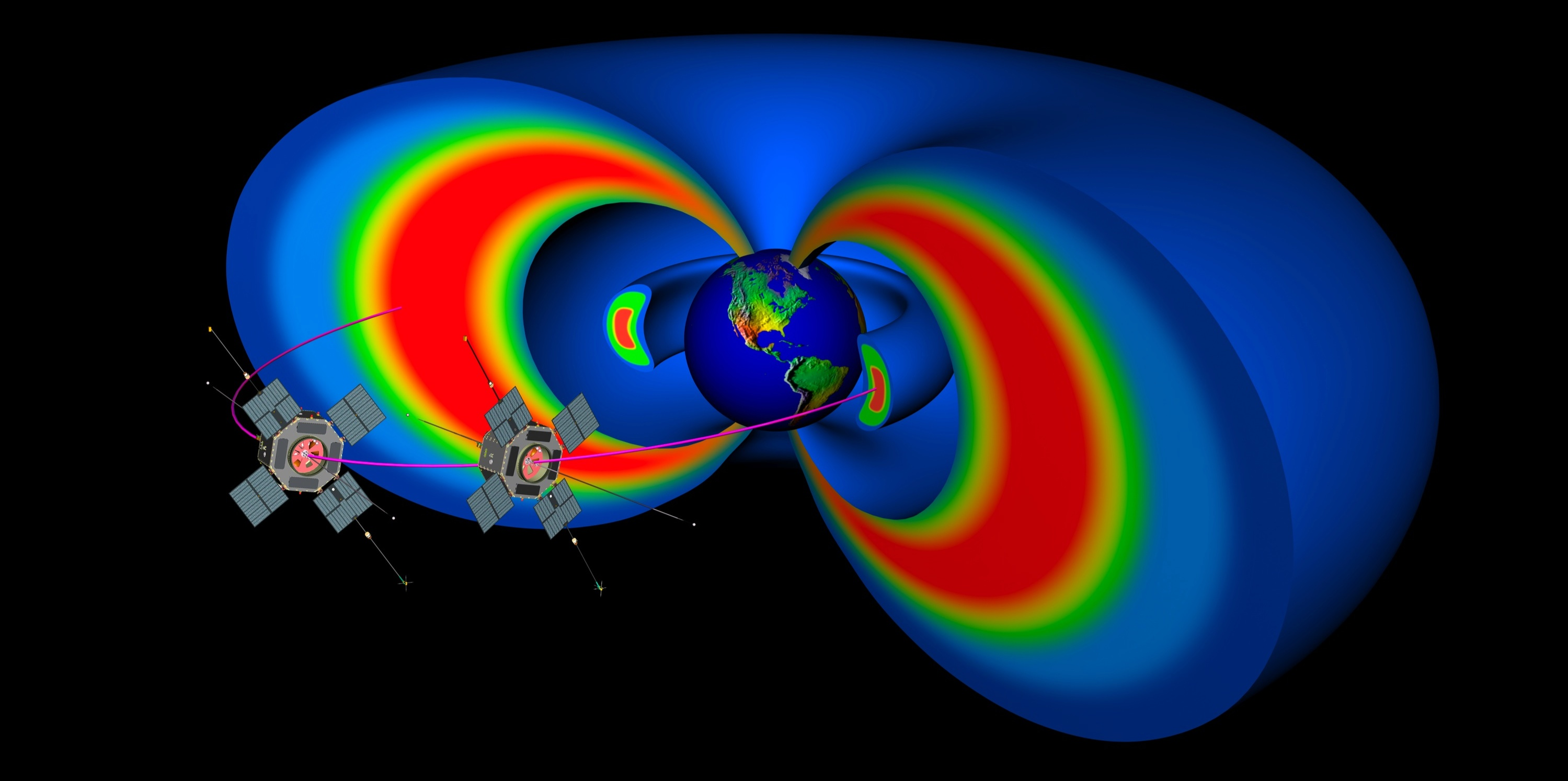 Model of the Earth's Van Allen radiation belts with the 2 satellites from NASA's Radiation Belt Storm Probes pictured. Credit: NASA