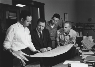 Left to right pictured: Carl McIIwain, James Van Allen, George Ludwig, Ernie Ray. Credit: University of Iowa