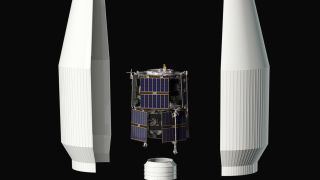 CAD rendering of the RBSP spacecraft and enclosing rocket. Credit: NASA/Johns Hopkins University Applied Physics Laboratory