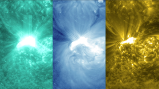 Video of flare using SDO AIA footage in 131(teal), 171(gold) and 335 (blue) ångström wavelengths.