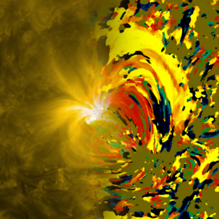 Combination of the source SDO AIA 171 image and the temperature change map made using 211 and 171 angstrom light.