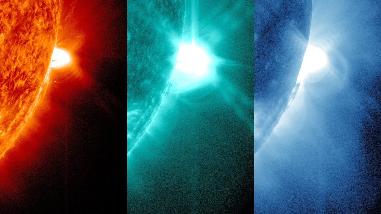 April 24, 2014 images of solar flares in three different views in 131, 304 and 171 angstorm recorded by NASA's Solar Dynamics Observatory