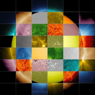 This collage of solar images from NASA's Solar Dynamics Observatory (SDO) shows how observations of the sun in different wavelengths helps highlight different aspects of the sun's surface and atmosphere. (The collage also includes images from other SDO instruments that display magnetic and Doppler information.) For the 52MB Photoshop file click here .