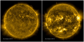 The picture on the left shows a calm sun from Oct. 2010. The right side, from Oct. 2012, shows a much more active and varied solar atmosphere as the sun moves closer to peak solar activity, or solar maximum, predicted for 2013. Both images were captured by NASA's Solar Dynamics Observatory (SDO) observing light emitted from the 1 million degree plasma, which is a good temperature for observing the quiet corona.