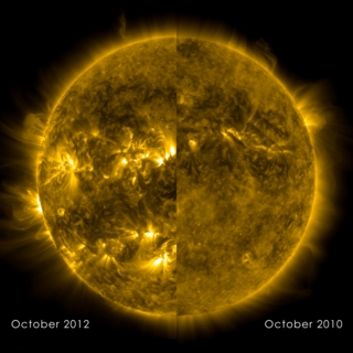 Comparison of solar activity as seen by the Solar Dynamics Observatory (SDO) in October 2010 and October 2012.  The wavelength of these images is 171 Angstroms.
