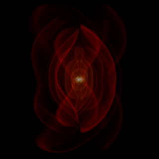 Frame from a simulation of the merger of two black holes and the resulting emission of gravitational radiation (colored fields). The outer red sheets correspond directly to the outgoing gravitational radiation that one day may be detected by gravitational-wave observatories. Credit: NASA/C. Henze