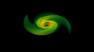 The black holes have merged in this frame from the simulation. Magnetic fields evacuate the region above the black hole and produce a thinner, hotter, denser disk in the immediate vicinity of the black hole than in simulations without them. Credit: NASA's Goddard Space Flight Center/P. Cowperthwaite, Univ. of Maryland
