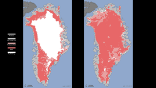 For five days in July 2012, melting occured across 97% of the surface of the Greenland ice sheet, the largest extent observed in 30 years.