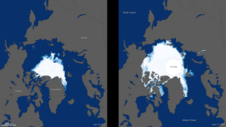 In September 2012, sea ice covered less of the Arctic Ocean than at any other time since the first satellite measurements began in 1979.