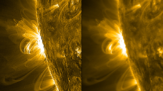 The coronal loops visible in the unedited image (right) become sharper, more defined and easier to study with the application of a filter (left).