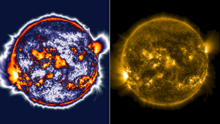 Compare the level of detail seen in the enhanced (left) versus unedited (right) image of the sun.