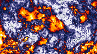 Features in the sun's atmosphere stand out in images enhanced by the filter.
