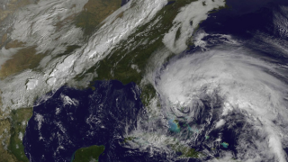 GOES-13 tracked Hurricane Sandy along with clouds from a powerful cold front headed toward the East Coast in Oct. 2012.