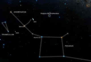 This chart locates the constellation Andromeda and the star designated Kappa Andromedae, which is visible to the unaided eye from suburban skies. Credit: NASA's Goddard Space Flight Center/DSS