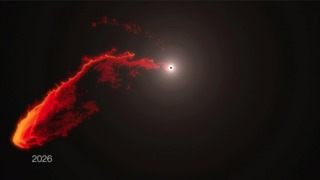 This simulation shows the future behavior of the G2 gas cloud now approaching Sgr A*, the supermassive black hole at the center of the Milky Way. X-ray emission from the cloud's tidal interaction with the black hole is expected sometime this spring. Credit: ESO/MPE/M.Schartmann