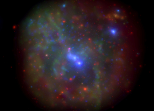 This X-ray image of the galactic center merges all Swift XRT observations through 2013. Sgr A* is at center. Low-energy X-rays (300 to 1,500 electron volts) are shown in red, medium-energy (1,500 to 3,000 eV) in green, and high-energy (3,000 to 10,000 eV) in blue. The total effective exposure time is 12.6 days, and the field of view is 25 arcminutes across. Credit: NASA/Swift/N. Degenaar (Univ. of Michigan)