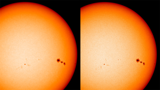 High-resolution images of the sun (right) taken by the HMI instrument on SDO can appear blurry (left) for up to 45 min. after an eclipse.