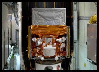 This image, taken in May 2008 as the Fermi Gamma-ray Space Telescope was being readied for launch, highlights the detectors of the spacecraft's Gamma-ray Burst Monitor (GBM). The GBM is an array of 14 crystal detectors designed for transient lower-energy gamma-ray outbursts, such as TGFs. Unlabeled. Credit: NASA/Jim Grossmann