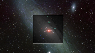 This image composites XMM-Newton X-ray data onto an optical view of the Andromeda galaxy; the ULX is circled. Colors in the XMM image correspond to different X-ray energies: 0.2 to 1 keV (red), 1 to 2 keV (green) and 2 to 4.5 keV (blue). Labels Inset: ESA/M. Middleton et al.; background: Bill Schoening, Vanessa Harvey/REU program/NOAO/AURA/NSF