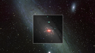 This image composites XMM-Newton X-ray data onto an optical view of the Andromeda galaxy; the ULX is circled. Colors in the XMM image correspond to different X-ray energies: 0.2 to 1 keV (red), 1 to 2 keV (green) and 2 to 4.5 keV (blue). No Labels. Inset: ESA/M. Middleton et al.; background: Bill Schoening, Vanessa Harvey/REU program/NOAO/AURA/NSF