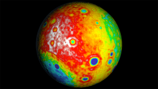 Using the gravity map, scientists created this map of the moon's crust. The different colors indicate variations in thickness.