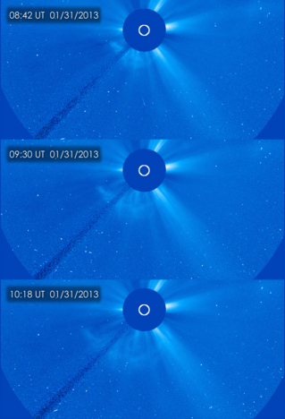 The Solar and Heliospheric Observatory (SOHO) captured these image of a coronal mass ejection (CME), erupting on the left side of the sun early in the morning of  Jan 31, 2013,  as it was moving away from the sun into space. These images from SOHO are called coronagraphs, in which the bright light of the sun is blocked in order to make the dimmer structures in the sun's atmosphere, or corona, visible. Credit: ESA&NASA/SOHO