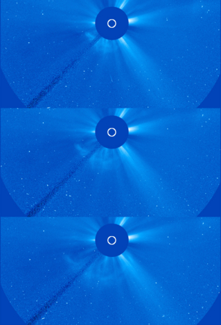 The Solar and Heliospheric Observatory (SOHO) captured these image of a coronal mass ejection (CME), erupting on the left side of the sun early in the morning of  Jan 31, 2013,  as it was moving away from the sun into space. These images from SOHO are called coronagraphs, in which the bright light of the sun is blocked in order to make the dimmer structures in the sun's atmosphere, or corona, visible. No Labels. Credit: ESA&NASA/SOHO