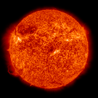 Solar Dynamics Observatory AIA instrument imagery at 304 Ångström wavelength.  This group contains a 4096x4096 pixel Apple ProRes video, and 4096x4096 frames.