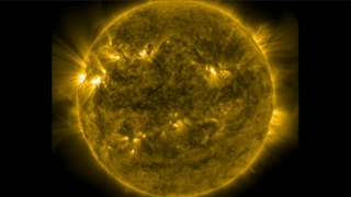 The pair of February 5 eruptions as seen by the Solar Dynamics Observatory's AIA instrument in 171 Angstrom light.  This video covers 6:30 pm EST on February 5 through 12:00 am on February 6 and uses a 36 second imaging cadence.