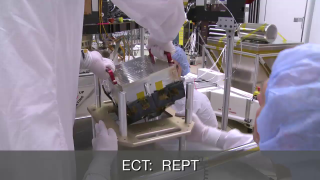 One of the two Relativistic Electron-Proton Telescope (REPT) instruments for the Van Allen Probes is shown prior to and then during integration into the spacecraft in 2012. Each Van Allen Probe carries an identical suite of five instruments; REPT is part of the Energetic Particle, Composition, and Thermal Plasma Suite (ECT) aboard the Van Allen Probes. Credit: JHUAPL