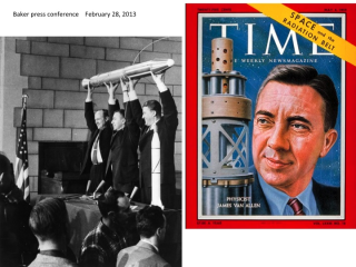 Pictured from left to right: William Pickering, James Van Allen, Werner Von Braun holding up a model of Explorer 1 after its successful launch in 1958. Credit: NASA.  