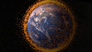 Shorter version of animation showing Earth with near-Earth orbital debris.  The debris field is real data from the NASA Orbital Debris Program Office. Credit: NASA's Goddard Space Flight Center/JSC