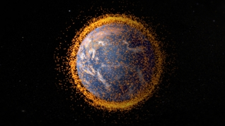 Animation of Earth with near-Earth orbital debris.  The debris field is real data from the NASA Orbital Debris Program Office. Credit: NASA's Goddard Space Flight Center/JSC