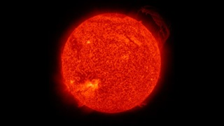 This video shows the sun in the 304 Ångström wavelength of extreme ultraviolet light.  It covers a time period of June 2, 2010 to April 15, 2013 at a cadence of one frame per day.  Early in the sequence, SDO's coverage was intermittent, so not every day is represented.  304 Ångström light highlights material around 50,000 Kelvin and shows features in the transition region and chromosphere of the sun.  The still shows a large prominence from Sept 15, 2010.