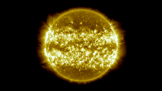 This image, and the one at the top, is a composite of 25 separate images spanning the period of April 16, 2012 to April 15, 2013.  It uses the SDO AIA wavelength of 171 Ångströms and reveals the zones on the sun where active regions are most common during this part of the solar cycle.  This version is widened to achieve a 16x9 aspect ratio. Credit: NASA's Goddard Space Flight Center/SDO/S. Wiessinger