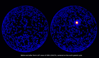 These maps, both centered on the north galactic pole, show how the sky looks at gamma-ray energies above 100 million electron volts (MeV). Left: The sky during a three-hour interval prior to the detection of GRB 130427A. Right: A three-hour interval starting 2.5 hours before the burst and ending 30 minutes into the event, illustrating its brightness relative to the rest of the gamma-ray sky. GRB 130427A was located in the constellation Leo near its border with Ursa Major, whose brightest stars form the familiar Big Dipper. For reference, this image includes the stars and outlines of both constellations.  Unlabeled. Credit: NASA/DOE/Fermi LAT Collaboration