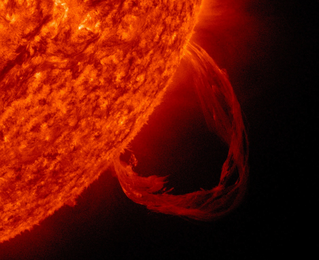 SDO 304 Ångström image of prominence eruption. Cropped. Credit: NASA/SDO