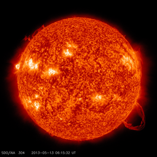 SDO 304 Ångström frames of May 13 flare and prominence eruption. Credit: NASA/SDO