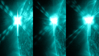 These pictures from NASA's Solar Dynamics Observatory show the three X-class flares that the sun emitted in under 24 hours on May 12-13, 2013. The images show light with a wavelength of 131 Ångströms, which is particularly good for showing solar flares and is typically colorized in teal. Credit: NASA/SDO/AIA