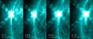 These images from NASA's Solar Dynamics Observatory show four X-class flares emitted on May 12-14, 2013 – the first four X-class flares of 2013. Each panel shows the flare in 131 Ångström light. Credit: NASA/SDO/GSFC