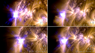 These images from NASA's Solar Dynamics Observatory show four X-class flares emitted on May 12-14, 2013 – the first four X-class flares of 2013. Each panel is a blend of two images one showing light in the 171 Ångström wavelength and the other in 131 Ångströms. Credit: NASA/SDO/GSFC