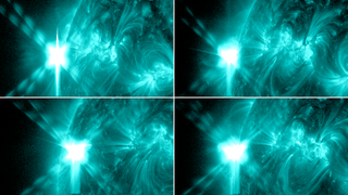 These images from NASA's Solar Dynamics Observatory show four X-class flares emitted on May 12-14, 2013 – the first four X-class flares of 2013. Each panel shows the flare in 131 Ångström light.  Unlabeled. Credit: NASA/SDO/GSFC